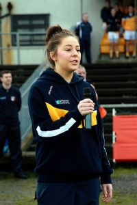 Caitriona McAteer sings Amhrán na bhFiann at the recent National Football League match between Antrim and Kildare at Casement Park.