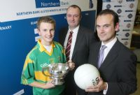 Odhran McLarnon, Minor Captain of Creggan Kickhams joins Billy McLarnon, Tournament Organiser and Gerry Mallon, CEO of Northern Bank, at the draw of the Ulster Minor Club Football Tournament 2008